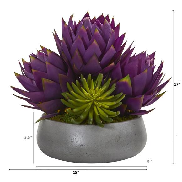 18 Musella and Succulent Artificial Arrangement in Gray Garden Vase - SKU #A1200-PP - 1