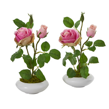 14 Rose Artificial Arrangement in White Vase Set of 2 - SKU #A1201-S2-PK