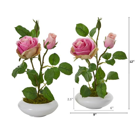 14 Rose Artificial Arrangement in White Vase Set of 2 - SKU #A1201-S2-PK - 1