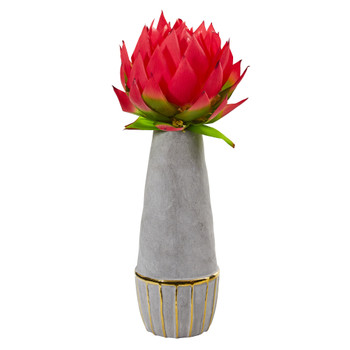 23 Musella Artificial Arrangement in Stoneware Oval Vase with Gold Trimming - SKU #A1202