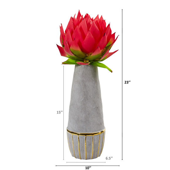 23 Musella Artificial Arrangement in Stoneware Oval Vase with Gold Trimming - SKU #A1202 - 1