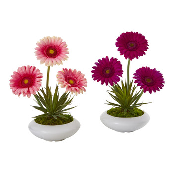 12 Gerber Daisy and Succulent Artificial Arrangement in White Vase Set of 2 - SKU #A1203-S2