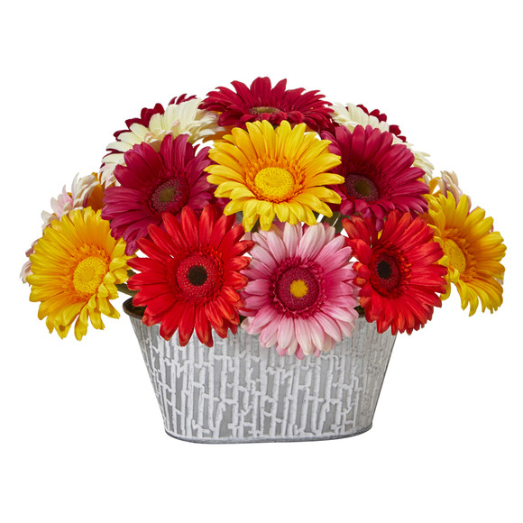 9 Gerber Daisy Artificial Arrangement in White Tin Vase - SKU #A1204-AS
