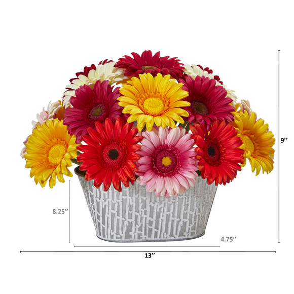 9 Gerber Daisy Artificial Arrangement in White Tin Vase - SKU #A1204-AS - 1