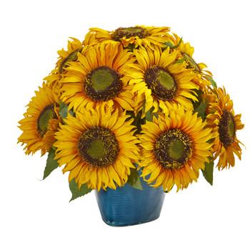 14 Sunflower Artificial Arrangement in Blue Vase - SKU #A1205