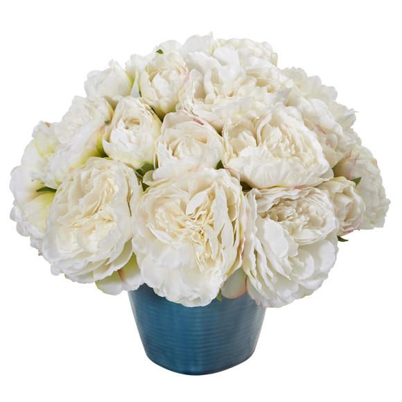14 Peony Artificial Arrangement in Blue Vase - SKU #A1206-WH