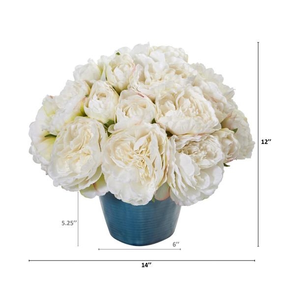 14 Peony Artificial Arrangement in Blue Vase - SKU #A1206-WH - 1