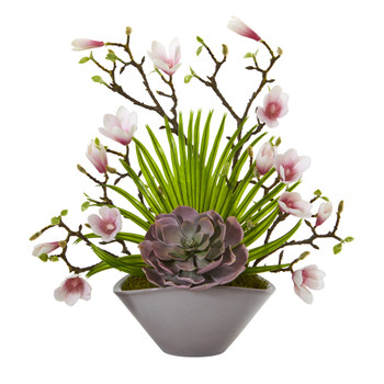 18 Magnolia and Succulent Artificial Arrangement in Vase - SKU #A1209