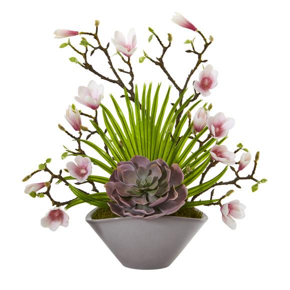 18 Magnolia and Succulent Artificial Arrangement in Vase - SKU #A1209