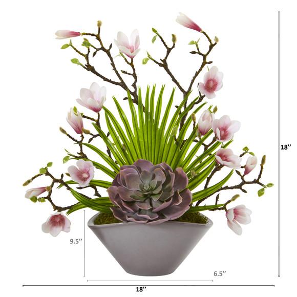 18 Magnolia and Succulent Artificial Arrangement in Vase - SKU #A1209 - 1