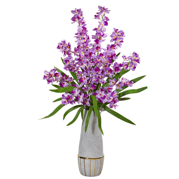37 Orchid Artificial Arrangement in Stoneware Oval Vase with Gold Trimming - SKU #A1211-PP