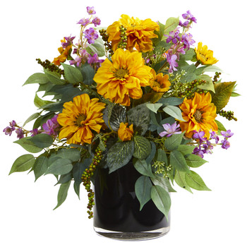 16 Dancing Daisy Zinnia and Mixed Greens Artificial Arrangement in Black Vase - SKU #A1212-PY