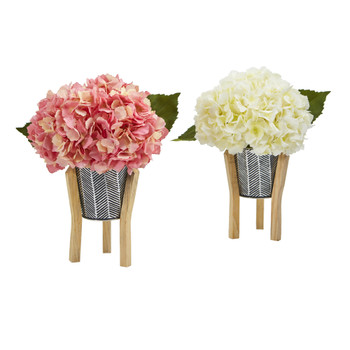 Hydrangea Artificial Arrangement in Tin Planter with Legs Set of 2 - SKU #A1213-S2