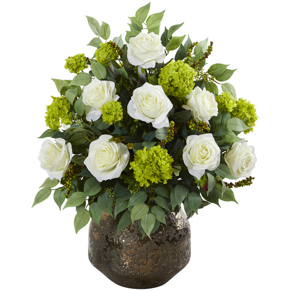 22 Rose and Snowball Hydrangea Artificial Arrangement in Designer Vase - SKU #A1214