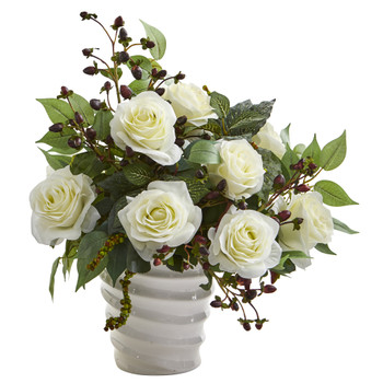 14 Rose and Mixed Greens Artificial Arrangement in White Vase - SKU #A1215-WH
