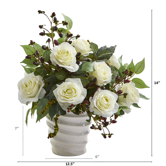 14 Rose and Mixed Greens Artificial Arrangement in White Vase - SKU #A1215-WH - 1