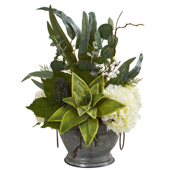 Hydrangea Succulent and Eucalyptus Artificial Arrangement in Vintage Bowl with Copper Trimming - SKU #A1216