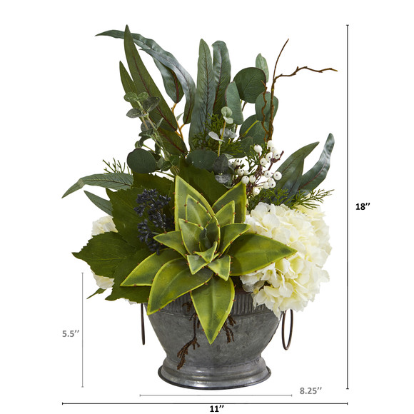 Hydrangea Succulent and Eucalyptus Artificial Arrangement in Vintage Bowl with Copper Trimming - SKU #A1216 - 1