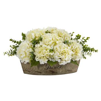 17 Hydrangea and Eucalyptus Artificial Arrangement - SKU #A1217-CR