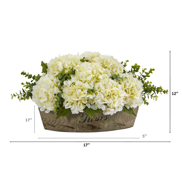 17 Hydrangea and Eucalyptus Artificial Arrangement - SKU #A1217-CR - 1