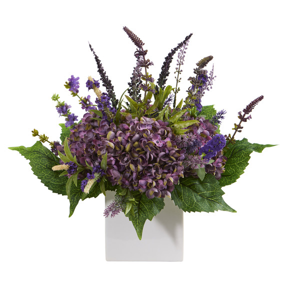15 Hydrangea and Lavender Artificial Arrangement in White Vase - SKU #A1218