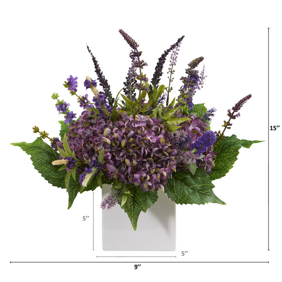 15 Hydrangea and Lavender Artificial Arrangement in White Vase - SKU #A1218 - 1