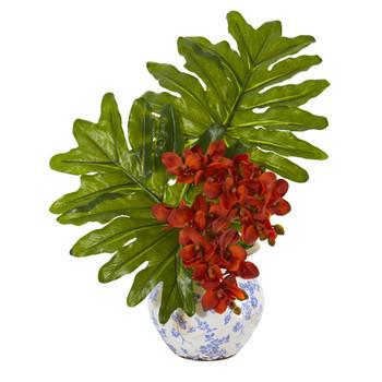 22 Phalaenopsis Orchid and Philo Leaf Artificial Arrangement in Floral Vase - SKU #A1219-OG