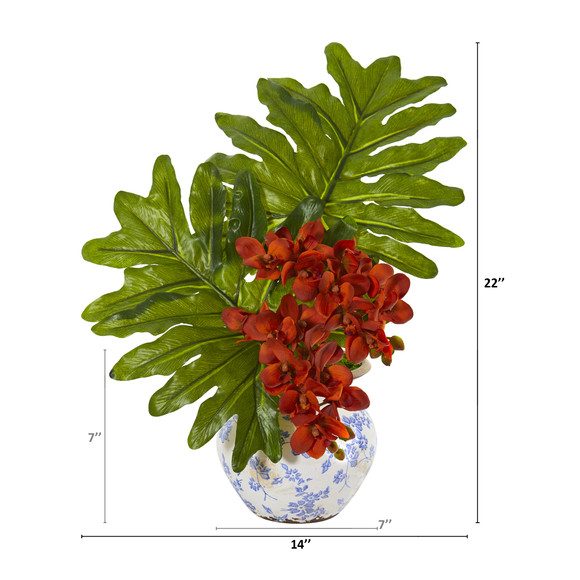 22 Phalaenopsis Orchid and Philo Leaf Artificial Arrangement in Floral Vase - SKU #A1219 - 5