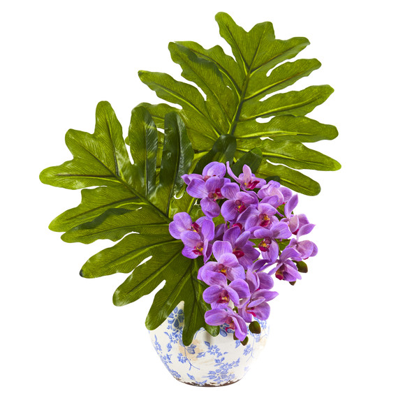 22 Phalaenopsis Orchid and Philo Leaf Artificial Arrangement in Floral Vase - SKU #A1219 - 2