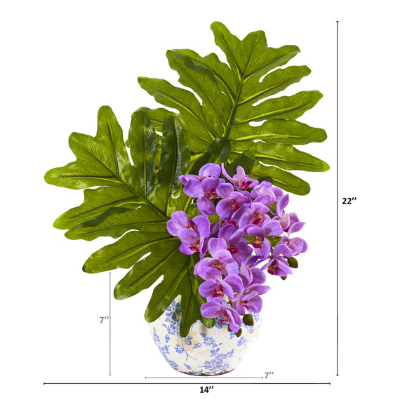 22 Phalaenopsis Orchid and Philo Leaf Artificial Arrangement in Floral Vase - SKU #A1219 - 3