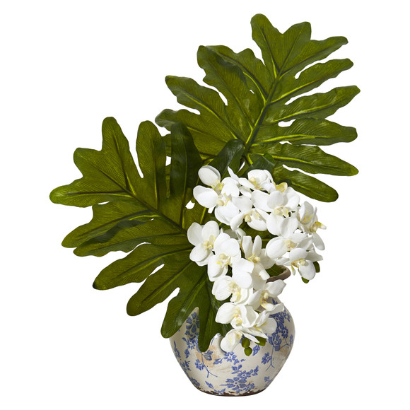 22 Phalaenopsis Orchid and Philo Leaf Artificial Arrangement in Floral Vase - SKU #A1219