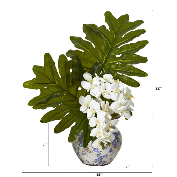 22 Phalaenopsis Orchid and Philo Leaf Artificial Arrangement in Floral Vase - SKU #A1219 - 1