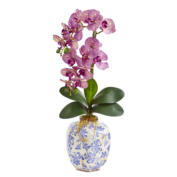 25 Phalaenopsis Orchid Artificial Arrangement in Decorative Vase - SKU #A1220 - 2