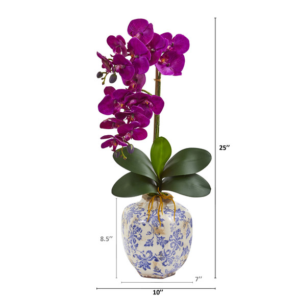 25 Phalaenopsis Orchid Artificial Arrangement in Decorative Vase - SKU #A1220 - 3