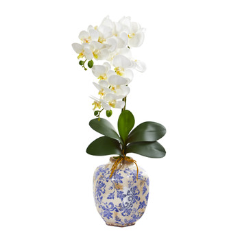25 Phalaenopsis Orchid Artificial Arrangement in Decorative Vase - SKU #A1220