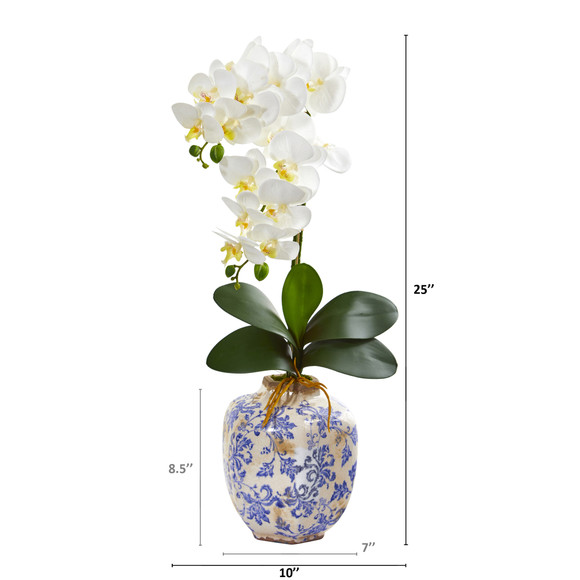 25 Phalaenopsis Orchid Artificial Arrangement in Decorative Vase - SKU #A1220 - 1