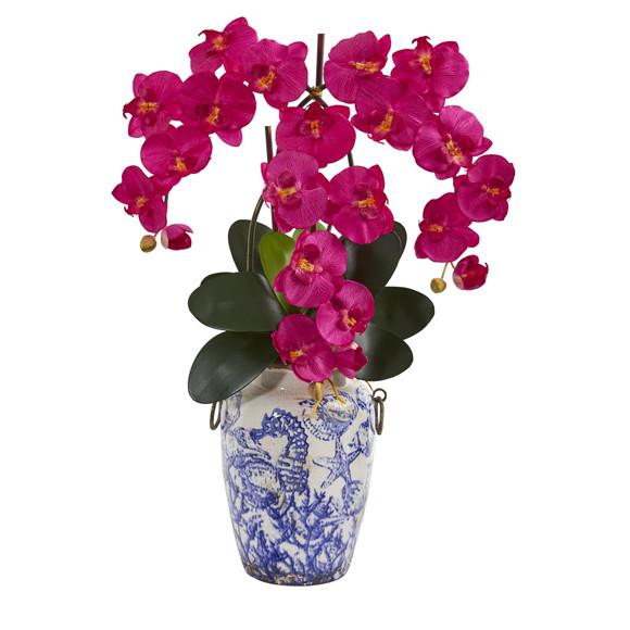 24 Phalaenopsis Orchid Artificial Arrangement in Weathered Ocean Vase - SKU #A1221