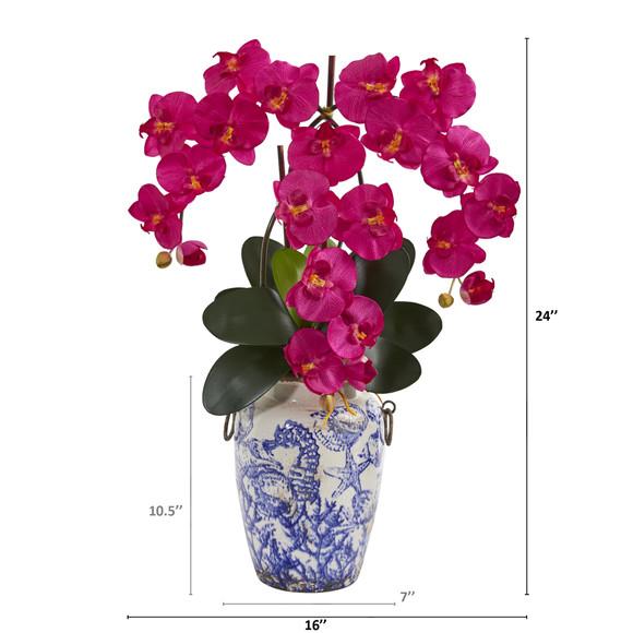 24 Phalaenopsis Orchid Artificial Arrangement in Weathered Ocean Vase - SKU #A1221 - 1