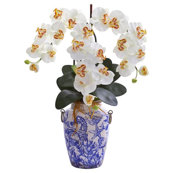 24 Phalaenopsis Orchid Artificial Arrangement in Weathered Ocean Vase - SKU #A1221 - 2
