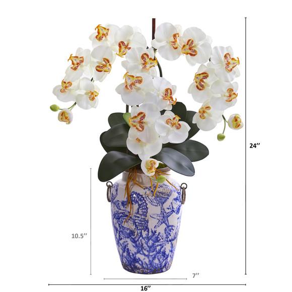 24 Phalaenopsis Orchid Artificial Arrangement in Weathered Ocean Vase - SKU #A1221 - 3
