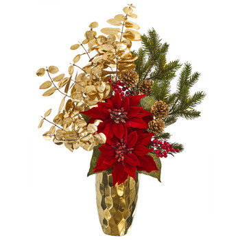 24 Poinsettia and Gold Eucalyptus Artificial Arrangement in Gold Vase - SKU #A1223