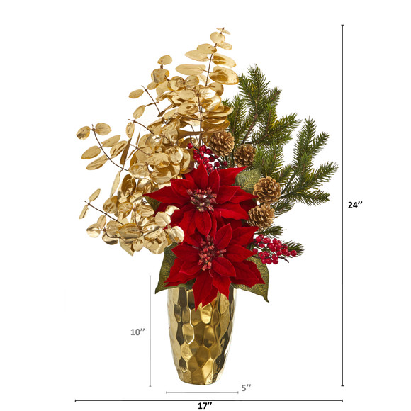 24 Poinsettia and Gold Eucalyptus Artificial Arrangement in Gold Vase - SKU #A1223 - 1