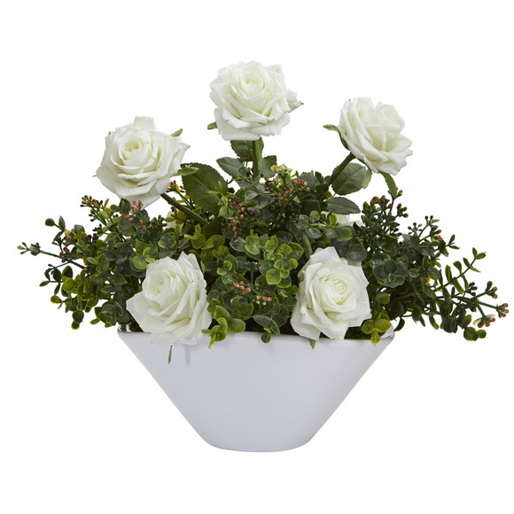 16 Roses and Eucalyptus Artificial Arrangement in White Vase - SKU #A1224-WH