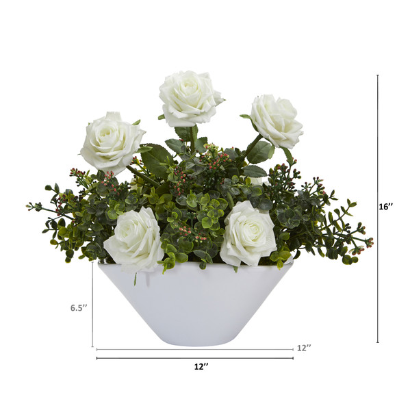 16 Roses and Eucalyptus Artificial Arrangement in White Vase - SKU #A1224-WH - 1