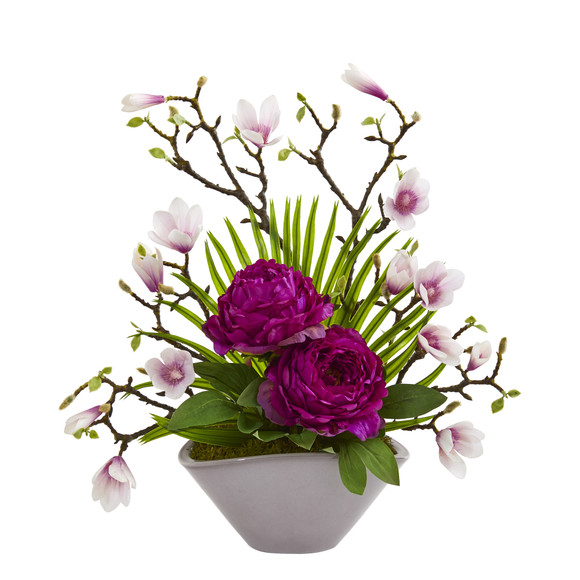19 Peony Magnolia and Palm Artificial Arrangement in Vase - SKU #A1225