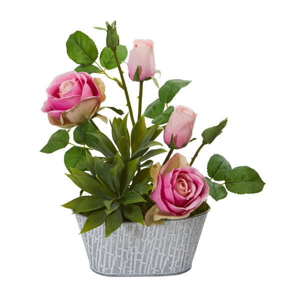 14 Rose and Agave Artificial Arrangement in White Tin Vase - SKU #A1226-PK - 2
