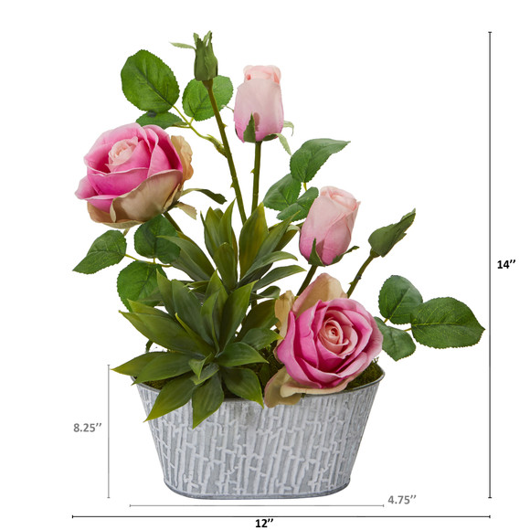 14 Rose and Agave Artificial Arrangement in White Tin Vase - SKU #A1226-PK - 3