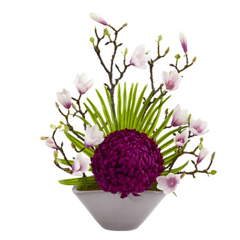 19 Mum Magnolia and Fan Palm Artificial Arrangement in Vase - SKU #A1228