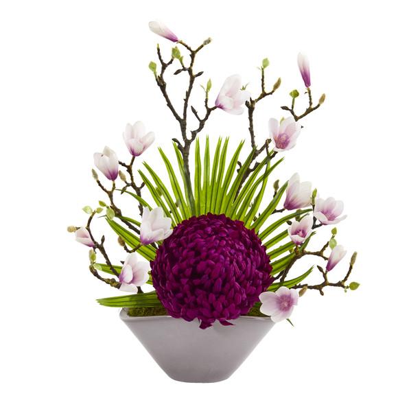 19 Mum Magnolia and Fan Palm Artificial Arrangement in Vase - SKU #A1228