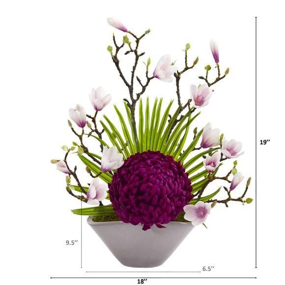 19 Mum Magnolia and Fan Palm Artificial Arrangement in Vase - SKU #A1228 - 1